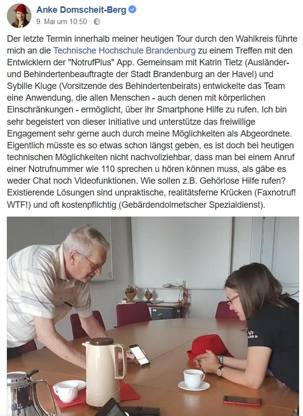 Facebook Beitrag von Frau Anke Domscheit-Berg: